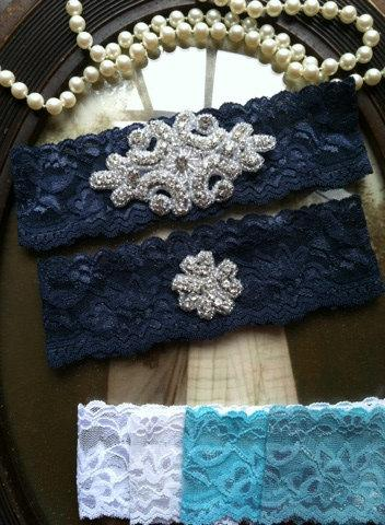 Wedding - SALE-Wedding Garter - Navy Lace Garter Set - Rhinestone Garter - Applique Garter - Vintage - Bridal Garter - Vintage Garter - Toss Garter