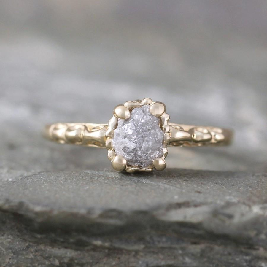 14k Yellow Gold Raw Diamond Engagement Ring Filigree Ring  Antique Styled Engagement  Ring  April Birthstone Uncut Rough Raw Gemstone