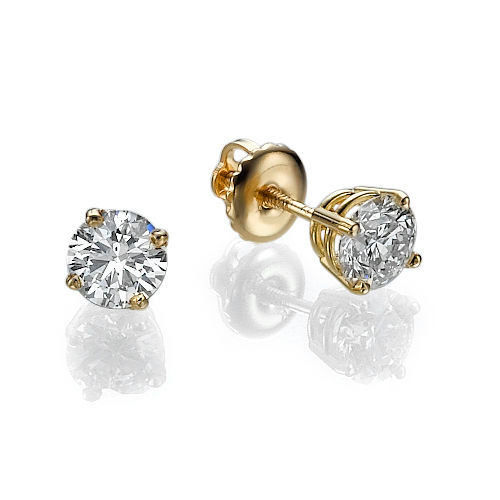 Gold Stud Earrings Diamond Yellow 14k 0 5ct Wedding Earring Studs Christmas