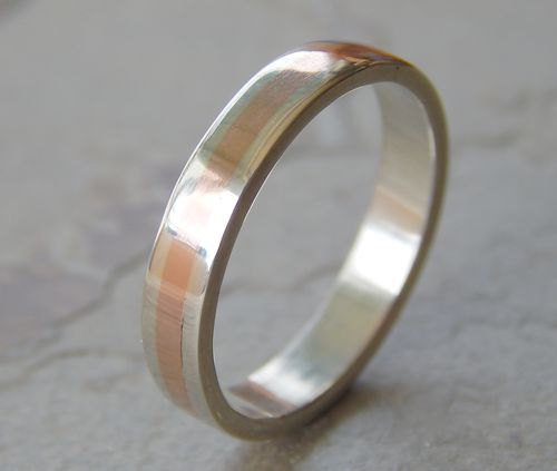 Mariage - 4 mm Silver & Copper // Men's Wedding Ring // Women's Wedding Ring // Men's Wedding Band // Women's Wedding Band // Unique Band