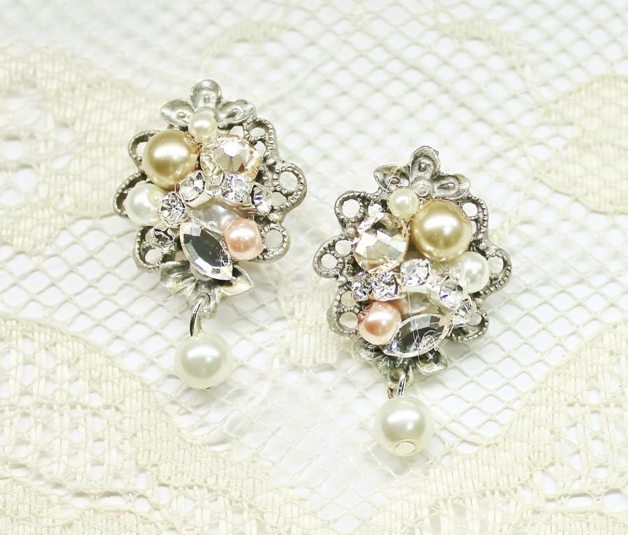 Champagne blush earrings pearls and rhinestone earrings for Jewelry for champagne wedding dress