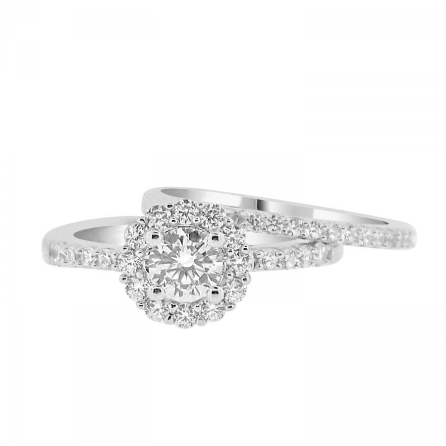 Round CZ Solitaire Halo Engagement Ring With Matching Wedding Band