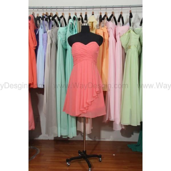 زفاف - Coral Bridesmaid Dresses, Short Chiffon Bridesmaid Dress, Sweetheart Bridesmaid Dress