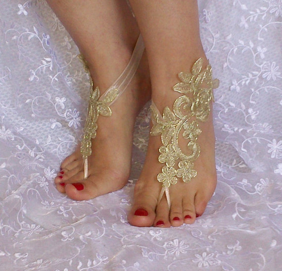 Wedding - Gold Bridal Accessories, dance shoes, Party, Shoe accessories, wedding bridal bohemian gold
