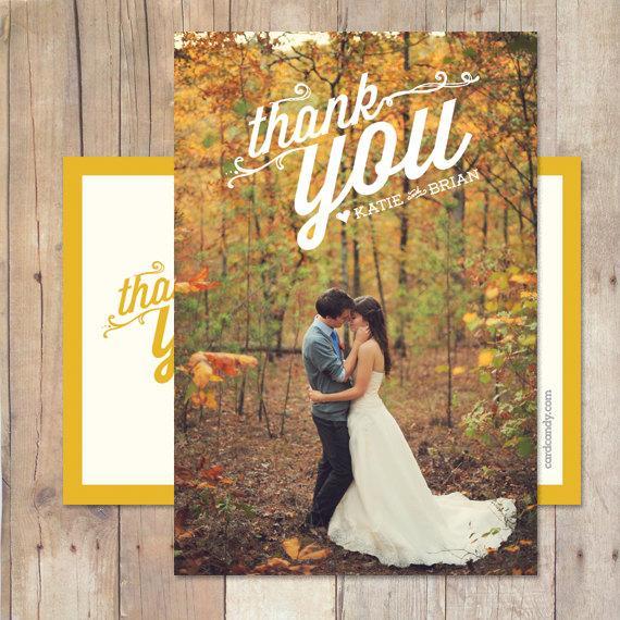 Mariage - Wedding Thank You, Wedding Thank You Card, Wedding Thank You Postcard - Rosemary