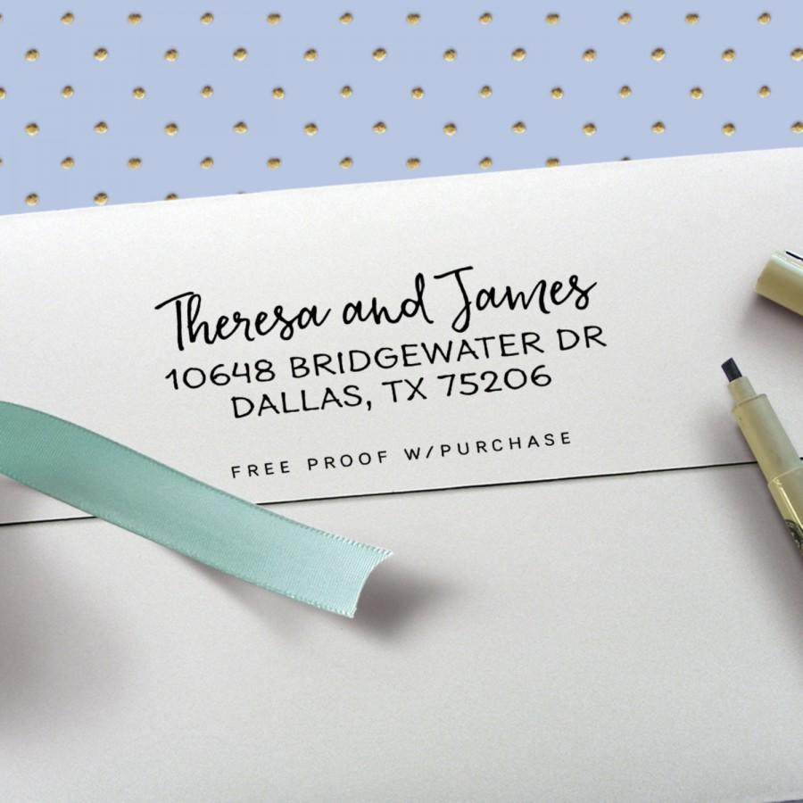 Wedding - Return Address Stamp - Clean and Simple Calligraphy Address Stamp (Handlettered font) Handle or Self-Inking Address Stamp  (20499) 2 1/2 X 1