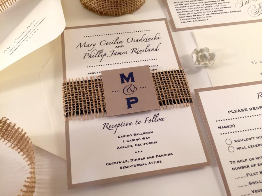 SAMPLE Burlap Wedding Invitation, Monogram Invitation Initials ...