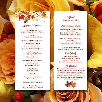 printable wedding ceremony program template falling leaves diy