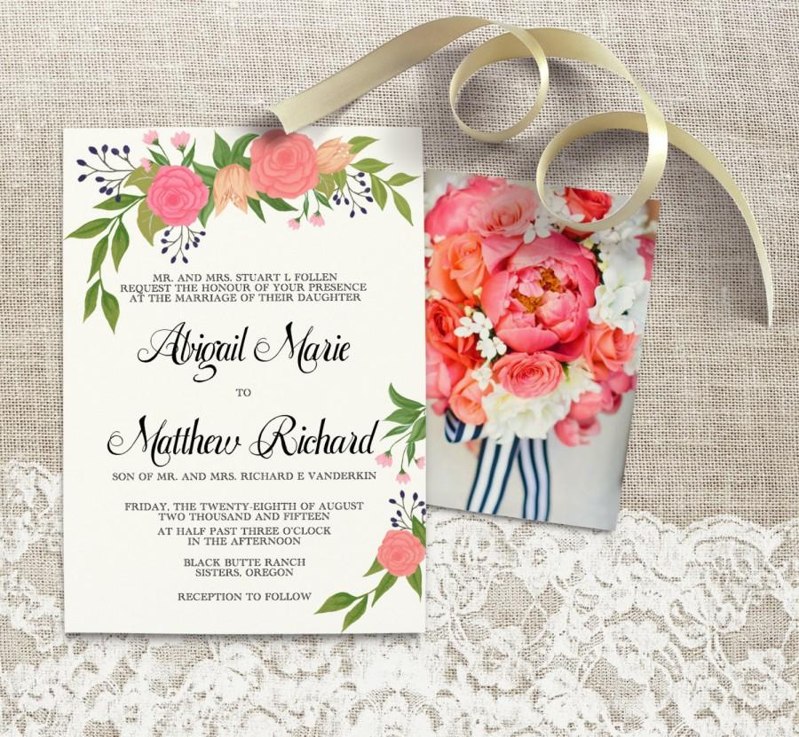 Hand Painted Peach Blossom Wedding Invitation With Hand Written