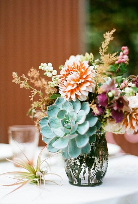 Hochzeit - Succulent And Dahlia Wedding Centerpiece