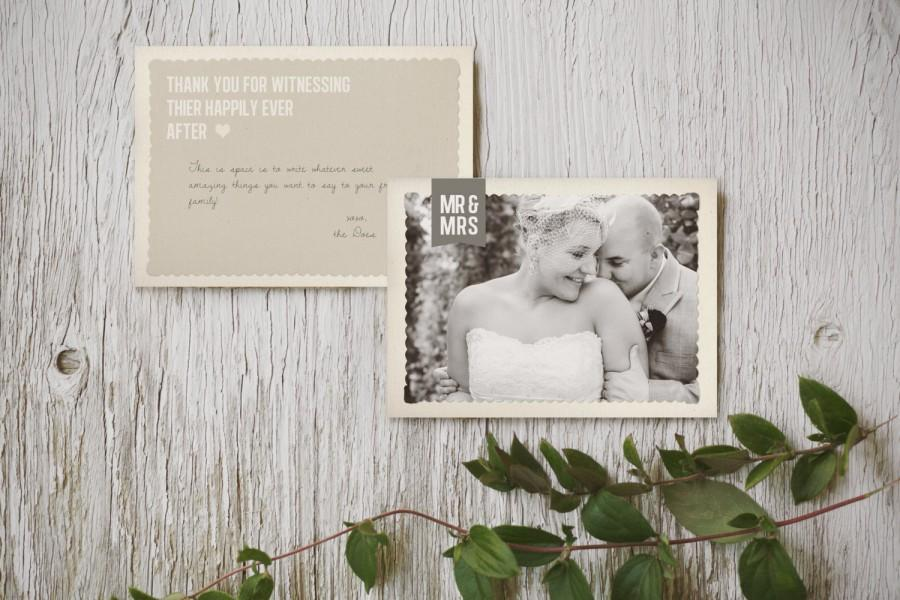 Hochzeit - Rustic Thank You Card Template: Postcard style