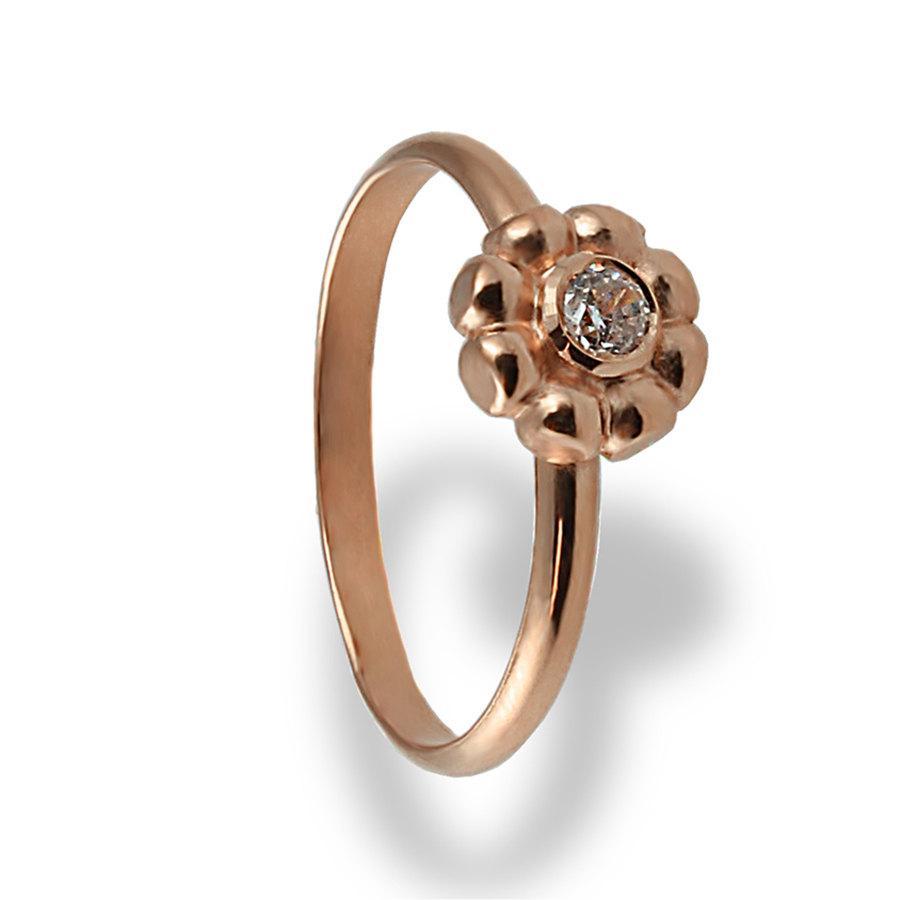 زفاف - Flower Diamond Engagement Ring, Rose Gold Engagement Ring, Solitaire Engagement ring, Diamond Ring, Solitaire Ring, Bridal jewelry, Flower,