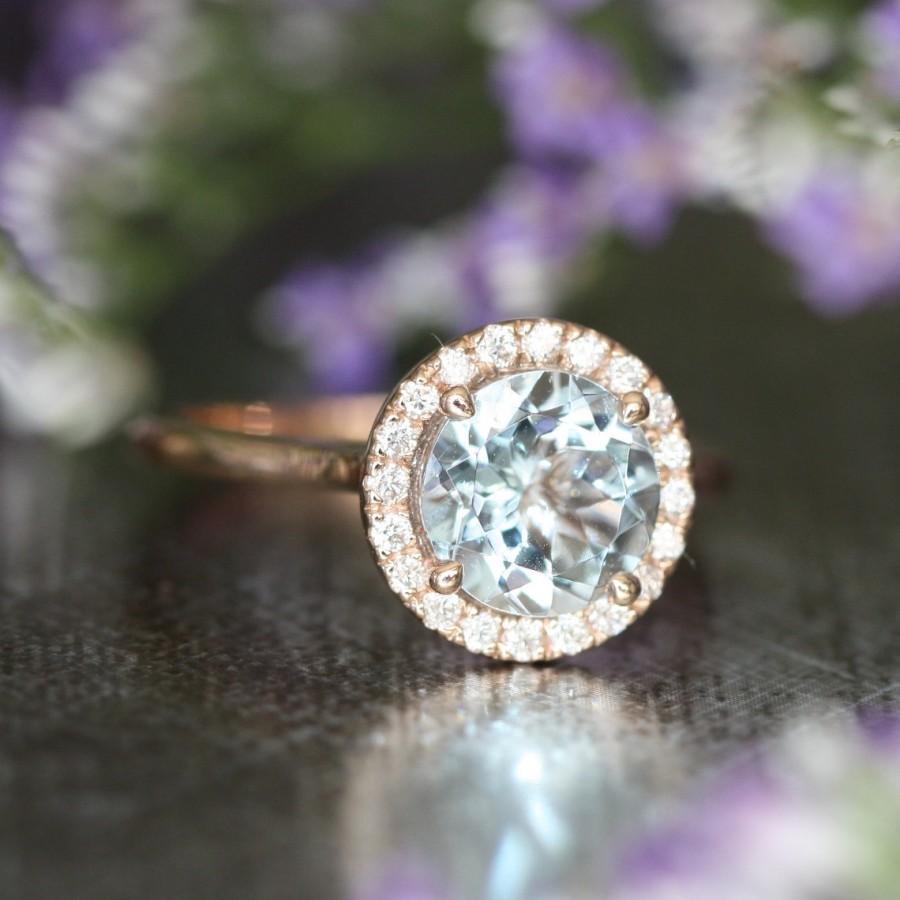 زفاف - Halo Diamond Aquamarine Engagement Ring in 14k Rose Gold Wedding Band 8x8mm Gemstone Aquamarine Ring (Bridal Wedding Set Available)