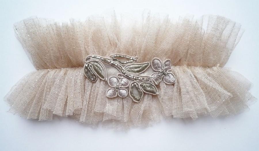 Hochzeit - glitterati silk tulle garter nude shimmer rose gold garter embroidered beaded garter vintage style heirloom garter