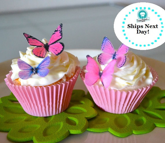 Wedding - Wedding Cake Topper 12 Small Pink and Purple Edible Buttterflies for Cupcakes and Cakes - Edible Butterfly Wedding Cake Decoration