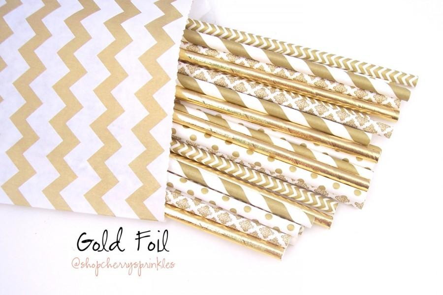 Mariage - Gold Straws, Gold Foil Straws, WEDDING Decor, Gold Decorations, Gold Polka Dots, Gold Lace Damask, Gold Chevron, Gold Multipack -set of 25