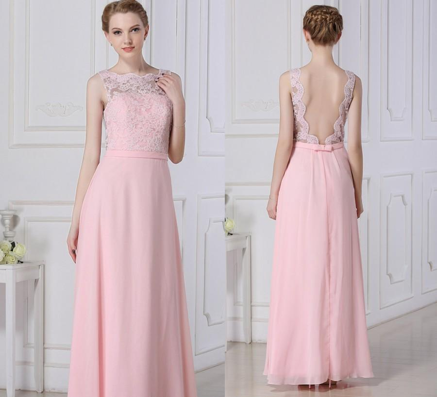 484034d43dc8 Elegant long lace bridesmaid dress pink chiffon dress a-line floor length  Open Back blush formal/prom dress