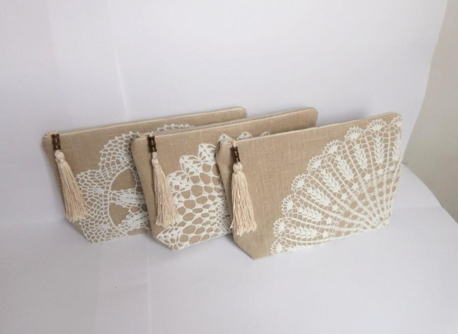 Wedding - Nude tassel -Set of 3 bridesmaid bags, sand beige linen +vintage doily zipper clutch, vintage lace handmade pouch, rustic wedding gift  bags