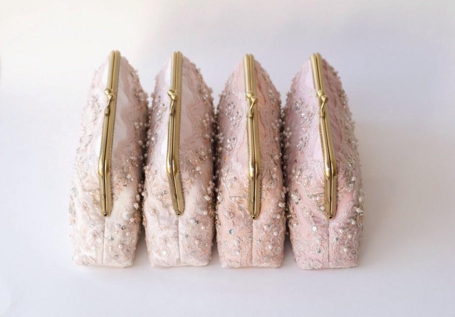 Свадьба - Set of 4 / Blush Bridal Clutch / Bridesmaid Clutch Purse / Personalized Clutch / Wedding Lace Clutch / Personalized Bridesmaids Gifts