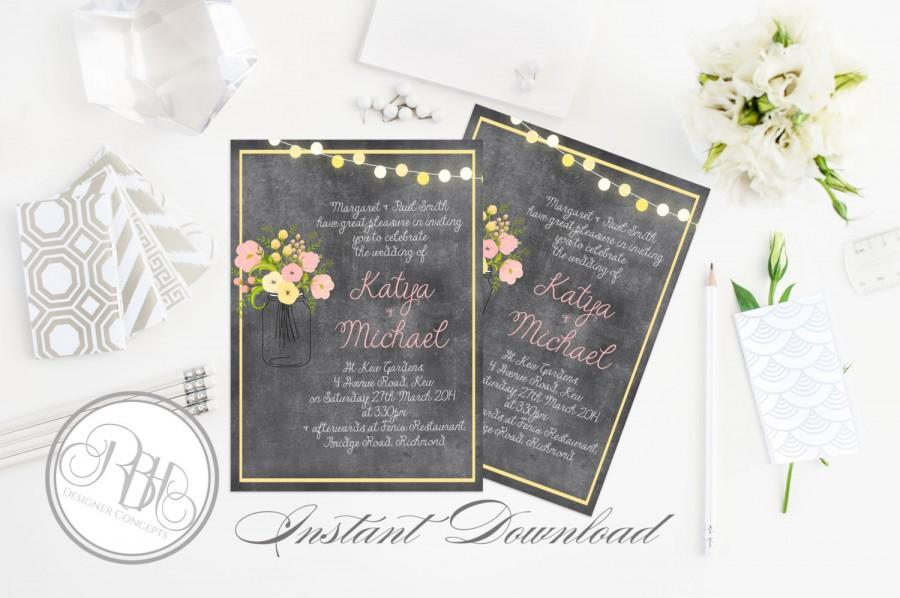 "Mariage - Rustic Chalkboard Wedding Invitation-INSTANT DOWNLOAD Template- 5x7 PDF Editable Text Only-Mason Jar String Lights Printable - ""Yolanda"""