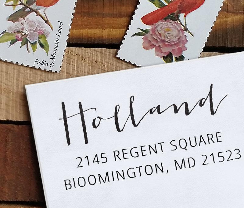 Wedding - Custom Address Stamp - Calligraphy Stamp - Self Inking  - wedding stamp - housewarming gift - Holland