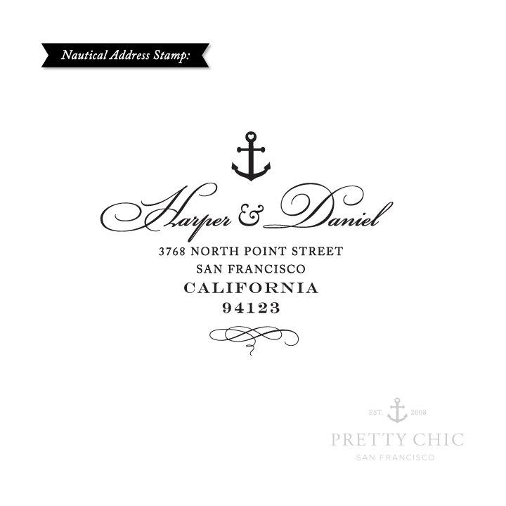 Wedding - Anchor Address Stamp - Nautical Stamp by Pretty Chic - Custom Stamp - Anchor - Address Stamp - Save the Date Stamp