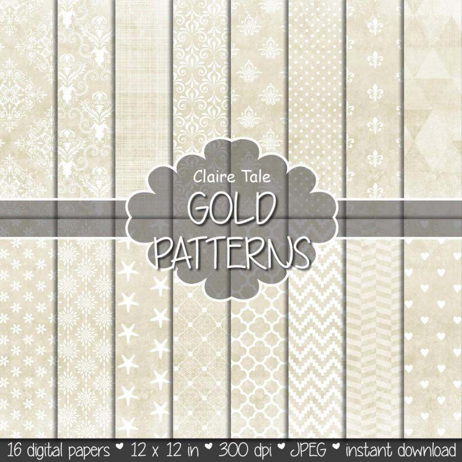 """Wedding - Gold digital paper: """"GOLD TEXTURES"""" with gold damask, crosshatch, quatrefoil, flowers, lace, polka dots, hearts, triangles, stripes patterns"""