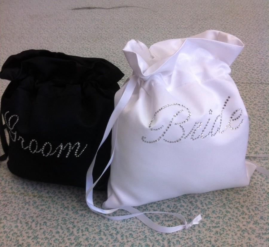 Wedding - Custom Made Money Bag Dollar Dance Set  For Bride and Groom Satin with Rhinestone Accent.