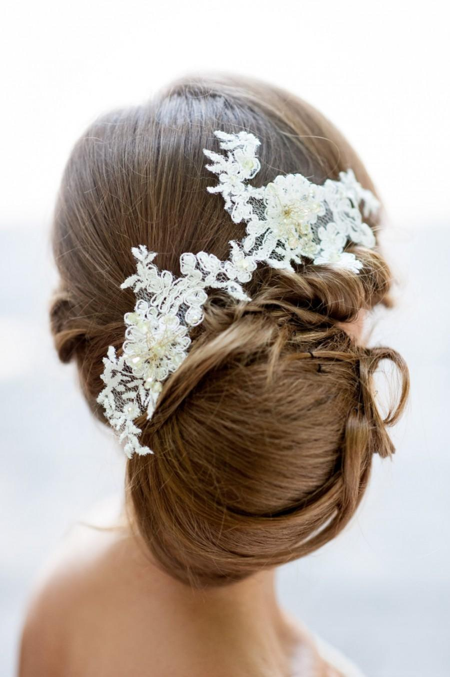 Bridal Lace Hair Accessory Handmade Bridal Lace Hair Piece Flower