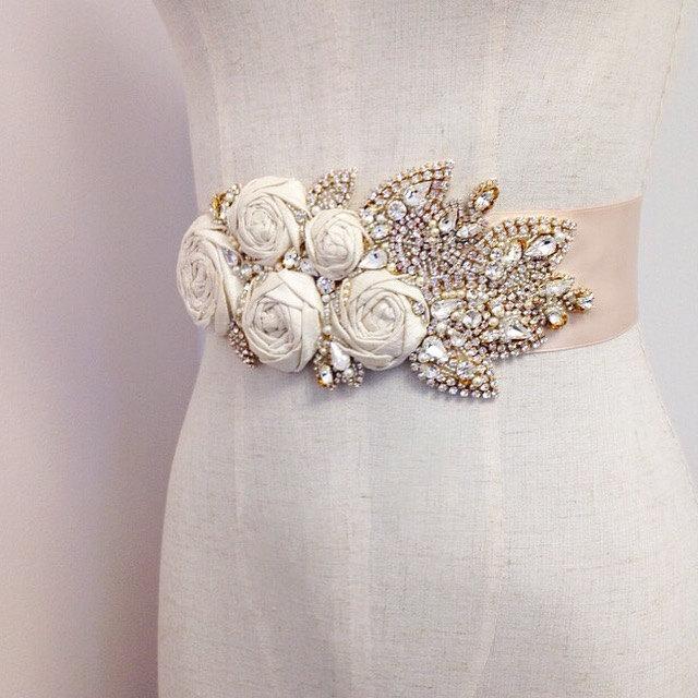 Свадьба - Silk Rose and Crystal Bridal Sash- Floral Bridal Belt- Floral Bridal Sash