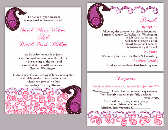 Wedding - DIY Bollywood Wedding Invitation Template Set Editable Word File Download Eggplant Wedding Invitation Indian invitation Bollywood party