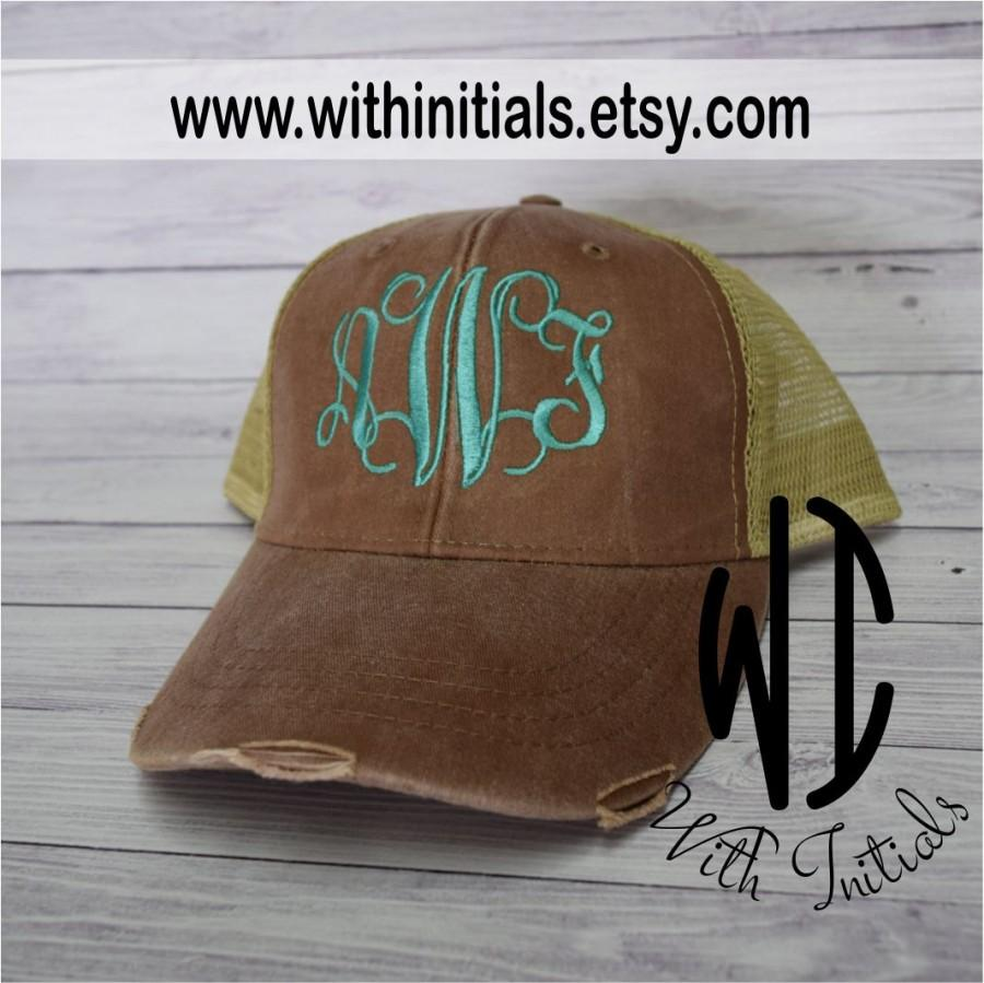 Свадьба - Monogrammed Trucker hat Hat Monogram Cap Monogram Bridesmaid gift wedding party bacholorette party