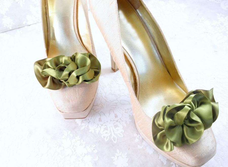 Wedding - Rustic Shoe Clips - Woodland Fairy Shoes -Leaf Green Shoes - Wedding Shoe Clips - Bridal Shoe Clips - Prom Shoe Clips - Bridal Shoes