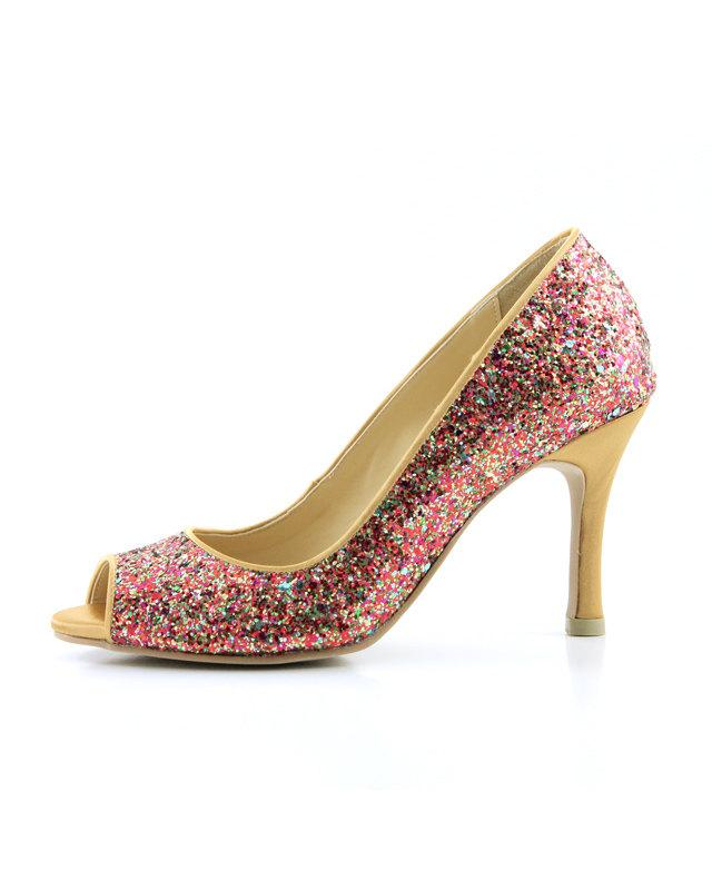 Red Multicolor Glitter Wedding Shoes, Red Glitter Bridal Shoes ...