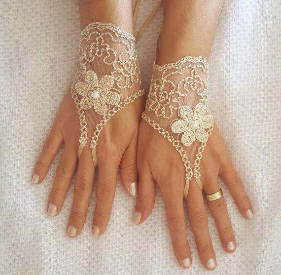 lace bridal gloves beige burlap little gold 3d flower pearl free ship brides bridesmaid bridal shower gift rustic wedding beach wedding