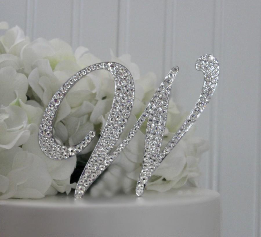 4 Quot Monogram Wedding Cake Topper Decorated With Swarovski