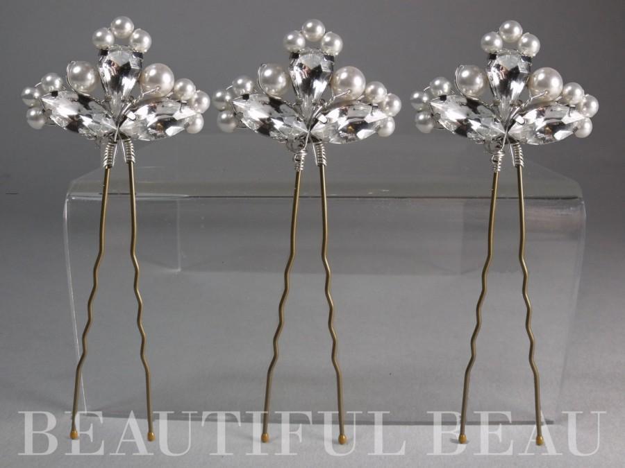 Свадьба - Vintage Style Wedding Hair Pins, Vintage Bridal Hair Pins, Bridesmaid Hair Pins, Vintage Pearl Hair Pins, Diamante Hair Grips DECO NOSTALGIA