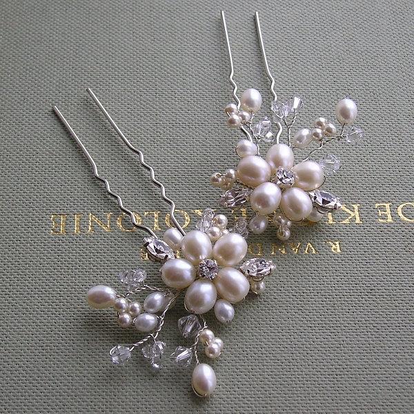 Mariage - Set of 2 Freshwater Bridal Hairpins, Bridal Hairpins, Wedding Hair Accessories, Bridal Hair Pins, Wedding Hairpins