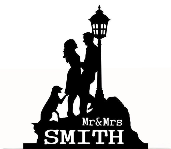 Hochzeit - Wedding Cake Topper Mr and Mrs with bride and groom Silhouette, last name, Dog Silhouette. Removable Spikes and free base for display