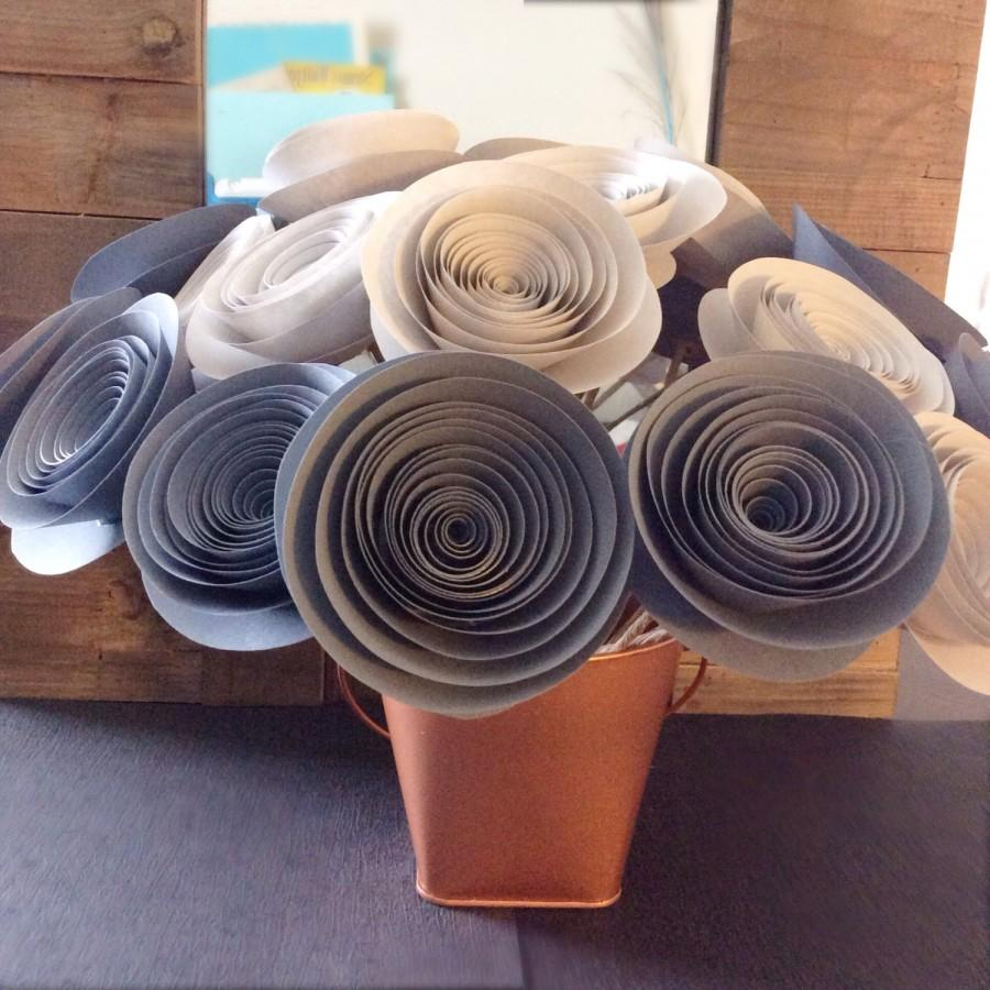 Paper Flowers Gray Light Gray Large Stemmed Wedding Home