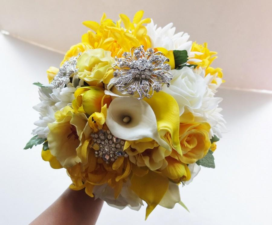 Bridal Bouquet, Yellow & White Wedding Bouquet, Silk Flower Bouquet ...
