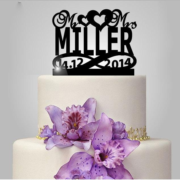 Mariage - Mr and Mrs personalize Wedding Cake topper with heart custom name and date, acrylic cake topper, acrylic cake topper, elegant, unique topper