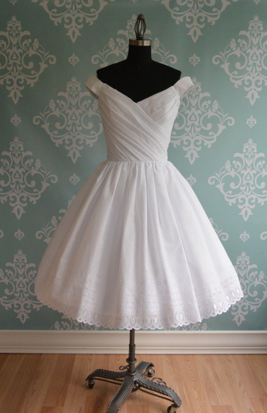 Tea length wedding dress off shoulder cotton eyelet for Medium length wedding dresses