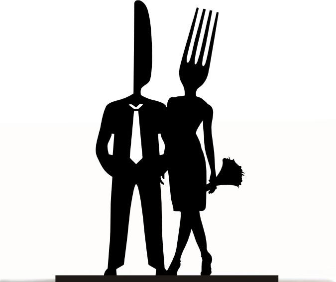 Wedding - Wedding Cake Topper Mr and Mrs Cake Lover Bride and Groom Fork and Knife