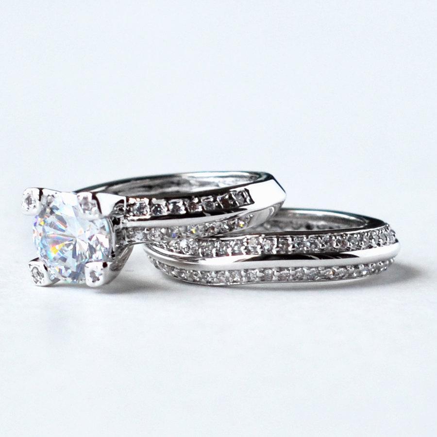 Свадьба - cz ring, cz wedding ring, cz engagement ring, wedding ring set, ring set, cz wedding set cubic zirconia size 5 6 7 8 9 10 - MC1082951AZ