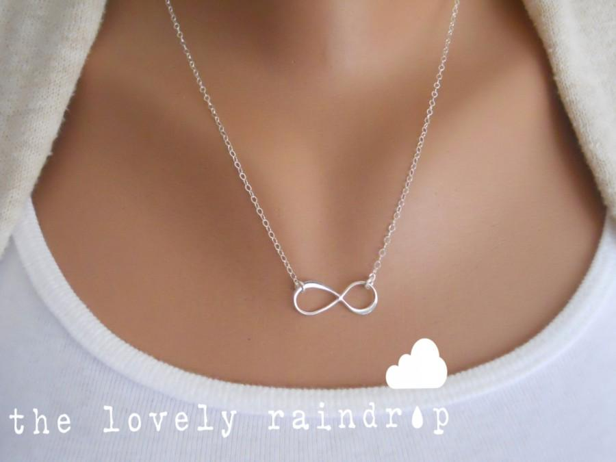 Hochzeit - Sterling Silver Infinity Necklace - Infinity Charm Suspended on Sterling Silver Fine Cable Chain - Perfect Gift - The Lovely Raindrop