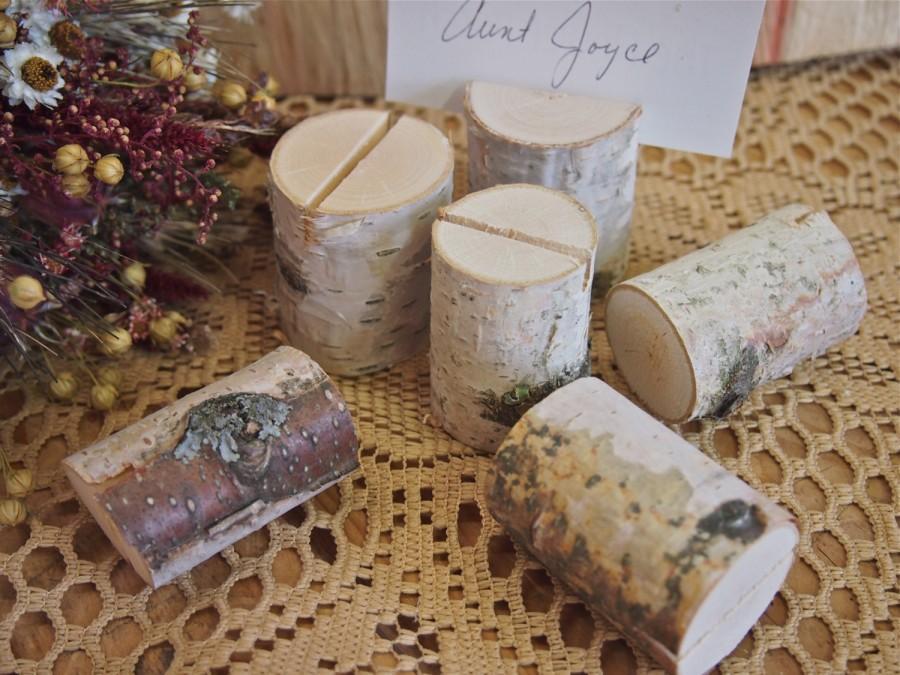 6 White Birch Name Card Holders Woodland Wedding Natural Wedding