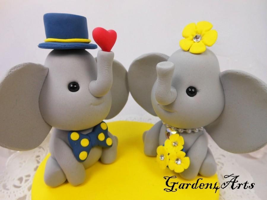 زفاف - Custom Elephant Love Wedding Cake Topper with SWEET HEART and circle clear base