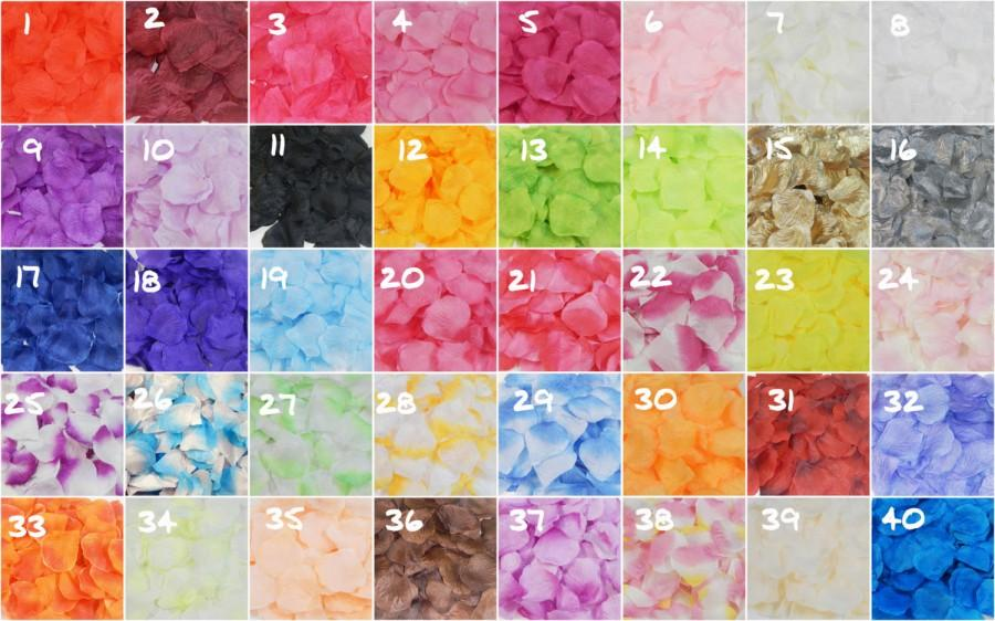 Hochzeit - 1000 Silk Rose Petals For Wedding Flower Bridal Decoration  Girl's Baskets Party, etc 40 Color To Choose