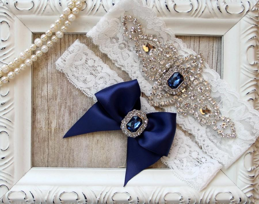 Свадьба - Customizable Garter - Vintage Wedding Garter & Toss w/ Sapphires and Rhinestones on Comfortable Lace, Bridal Garter Set, Crystal Garter Set